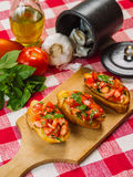 Italian bruschetta with ingredients Royalty Free Stock Images