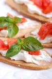 Italian bruschetta with tomato and cheese Stock Image
