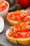 Italian bruschetta with tomatoes and basil Royalty Free Stock Image