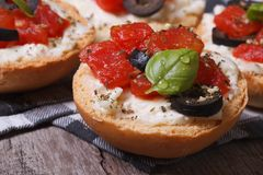 Italian bruschetta with tomatoes, feta cheese and olives Royalty Free Stock Photos