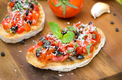 Italian Bruschetta With Tomato, Olives, Basil And Cheese Horizon Stock Photos