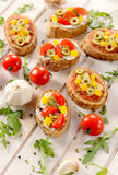 Italian bruschettas with vegetables Royalty Free Stock Images