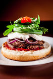 Italian Burger with Arugula and Mozzarella Royalty Free Stock Photos