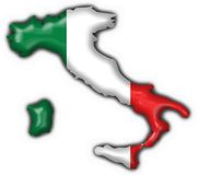 Italian button flag map shape Royalty Free Stock Images
