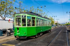 An italian cable car in san francisco. View of the historical cable car from milan italy in the street of  san franscisco , usa stock images