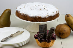 Italian cake with ricotta, pears and drops of chocolate Stock Images