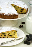 Italian cake with ricotta, pears and drops of chocolate Royalty Free Stock Image