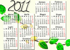 Italian calendar 2011. Illustration of 2011 calendar in italian language Stock Photo