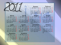 Italian calendar 2011 Royalty Free Stock Photos