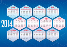 Italian calendar 2014 with geometric shapes Royalty Free Stock Images