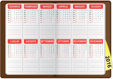 Italian calendar 2016 Royalty Free Stock Photo