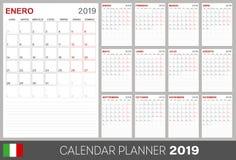 Italian calendar 2019. Italian calendar planner 2019, week starts on Monday, set of 12 months January - December, calendar template size A4, simple design on stock illustration