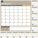 Italian Calendar 2017. Italian planning calendar 2017, week starts on Monday, vector illustration Royalty Free Stock Photography