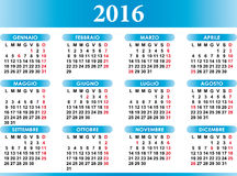 Italian calendar 2016 Royalty Free Stock Images