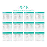 Italian Calendar Vector 2018. Vector Template of Italian Calendar 2018 year green Royalty Free Stock Photography
