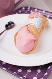 Italian cannoli dessert with strawberry cream Royalty Free Stock Image