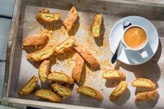 Italian cantucci with espresso Stock Image