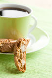 Italian cantuccini cookies and coffee cup Royalty Free Stock Photography