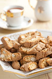 Italian cantuccini cookies with tea Royalty Free Stock Photos