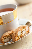Italian cantuccini cookies with tea Stock Image