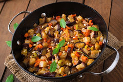 Italian Caponata with frying pan. Royalty Free Stock Images