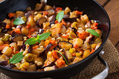 Italian Caponata with frying pan. Stock Images