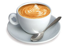 Italian Cappuccino. With designed foam and white backgroud - with clipping path Stock Photo