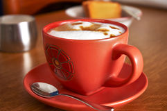 Italian cappuccino breakfast. A shoot of a typical italian breakfast royalty free stock photography