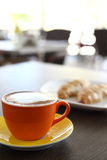 Italian cappuccino and croissant Royalty Free Stock Photos