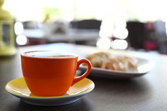Italian cappuccino and croissant Royalty Free Stock Images