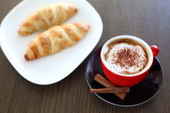 Italian cappuccino and croissant Royalty Free Stock Image