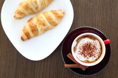 Italian cappuccino and croissant Royalty Free Stock Photo
