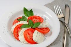 Caprese salad. Italian caprese salad with basil, fresh mozzarella and tomatoes Stock Photography