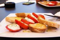 Italian caprese salad with  fresh mozzarella, tomatoes, olive oi Stock Photo