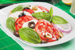 Italian caprese salad with mozzarella Stock Photo