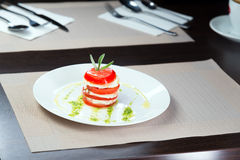 Italian Caprese. Tomato and mozzarella lies on a plate Royalty Free Stock Images
