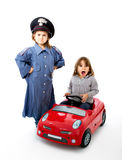 Italian carabiniere stop a car with surprise Royalty Free Stock Photography