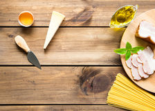Italian carbonara ingredients on wooden background Stock Photography