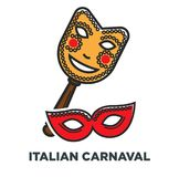 Italian carnaval promo poster with elegant festive masks. National holiday for native dwellers and tourists commercial banner. Bright facial accessory isolated Royalty Free Stock Photos