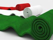 Italian carpet. Rolling italian colors 3d carpet on white background stock illustration