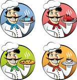 Italian cartoon chef or cook man  set Stock Images