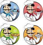 Italian cartoon chef or cook man  set. Italian cartoon chef or cook man with pizza, meat, fish and coffee  set Stock Images