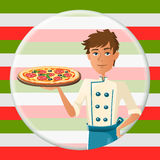 Italian cartoon cooker with pizza with salami Royalty Free Stock Images