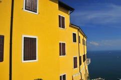 Italian castelletto overlooking the mediterranean Royalty Free Stock Image