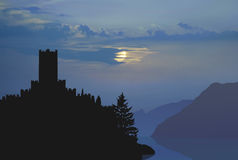 Italian castle moonlight Royalty Free Stock Images