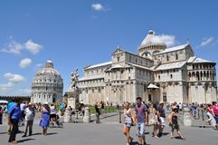 Italian cathedral on a sunny day. Arches and pillars Royalty Free Stock Photo