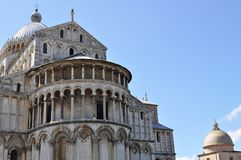 Italian cathedral on a sunny day. Arches and pillars Stock Photography