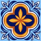 Italian ceramic tile pattern. Ethnic folk ornament. stock illustration