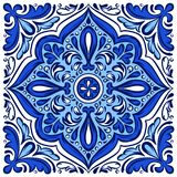 Italian ceramic tile pattern. Ethnic folk ornament. Mexican talavera, portuguese azulejo or spanish majolica royalty free illustration