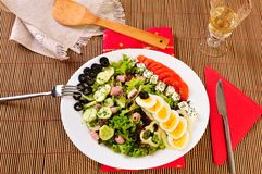Italian Cesar salad on table Royalty Free Stock Photos